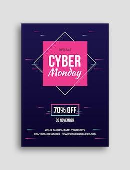 Folleto de gran venta de cyber monday
