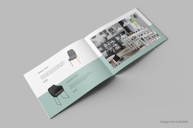 Folleto horizontal y vista en perspectiva de maqueta de catálogo