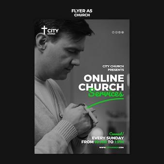 Folleto de la iglesia con servicios en línea