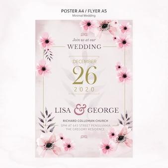 Folleto de invitación de boda minimalista elegante