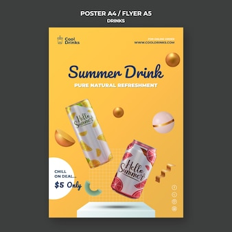 Folleto de latas de refrescos puros de bebidas de verano.