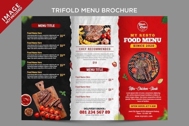 Un folleto de menú triple en el exterior