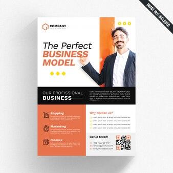 Folleto de negocios blanco con detalles naranja y negro