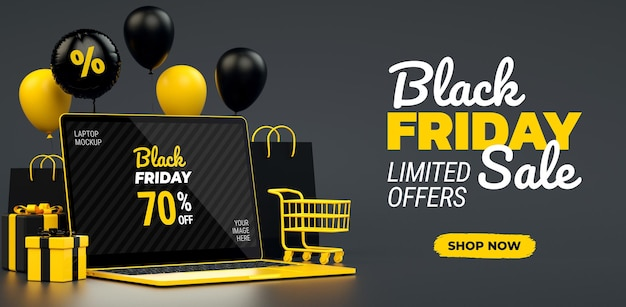 Folleto de oferta de viernes negro con maqueta de pantalla de computadora portátil amarilla y espacio de copia en representación 3d