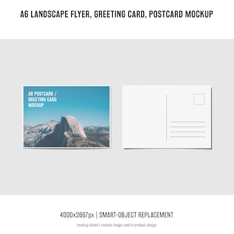 Folleto paisaje, tarjeta postal, maqueta de tarjetas de felicitación