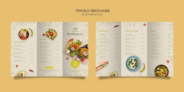 Folleto de plantilla de alimentos saludables y bio