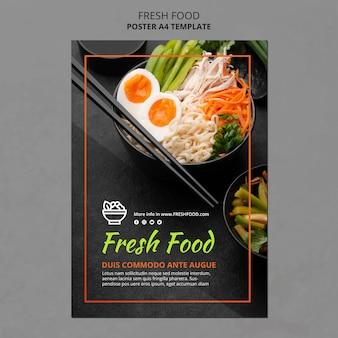 Folleto de plantilla de anuncio de alimentos frescos
