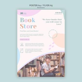 Folleto de plantilla de anuncio de librería