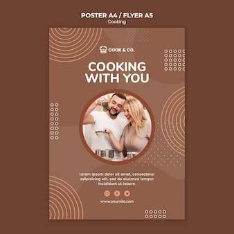 Folleto de plantilla para cocinar en casa