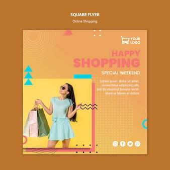 Folleto con plantilla de compras en línea