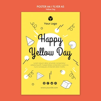 Folleto con plantilla de día amarillo