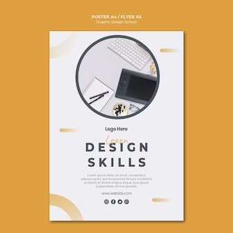 Folleto de plantilla de diseño gráfico