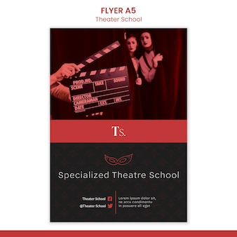Folleto de plantilla de escuela de teatro