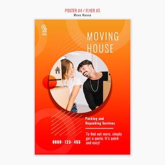 Folleto de plantilla de mover casa