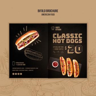 Folleto plegable clásico americano de hot dogs