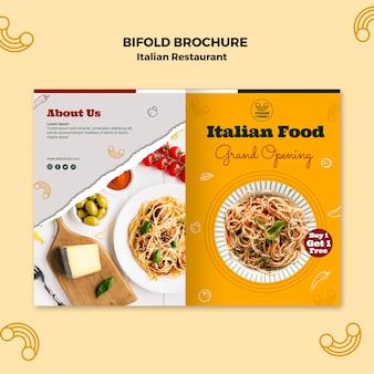 Folleto plegable de restaurante italiano