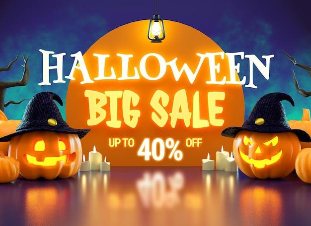 Folleto de promoción de gran venta de halloween con calabazas y letras luminosas en representación 3d