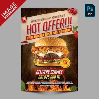 Folleto de promoción de hamburguesas hot offer