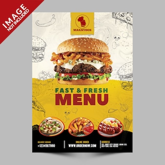 Folleto de promoción de menú rápido y fresco