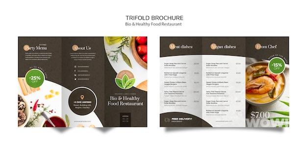 Folleto de restaurante de comida saludable