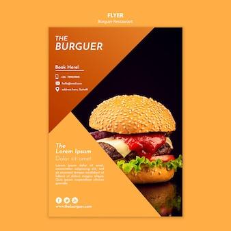 Folleto de restaurante de hamburguesa sabrosa