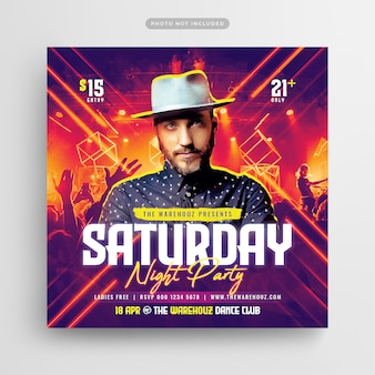 Folleto de saturday night party club