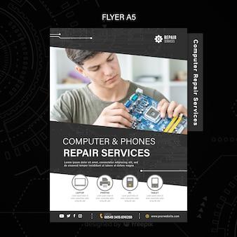Folleto de servicios de reparación de computadoras y teléfonos