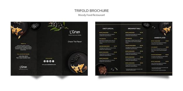 Folleto tríptico de comida cambiante
