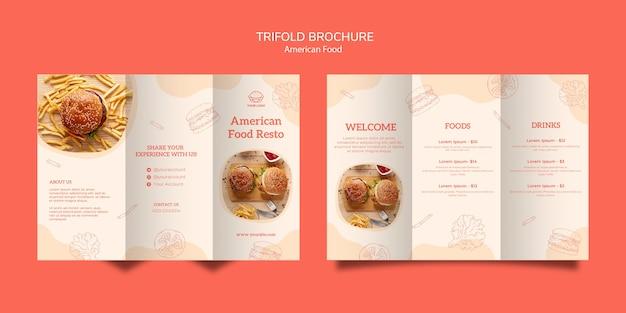 Folleto tríptico del concepto de comida americana