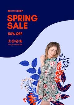 Folleto de venta de primavera de mujer sonriente