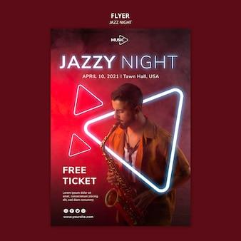 Folleto vertical para evento nocturno de jazz de neón.