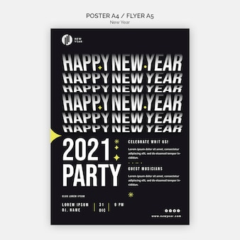 Folleto vertical para fiesta de año nuevo.
