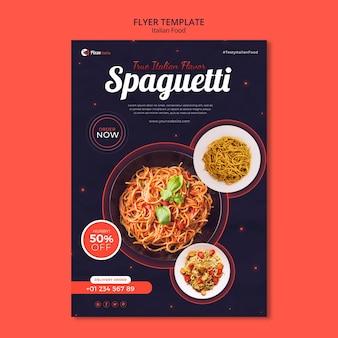 Folleto vertical para restaurante de comida italiana