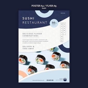 Folleto vertical para restaurante de sushi.
