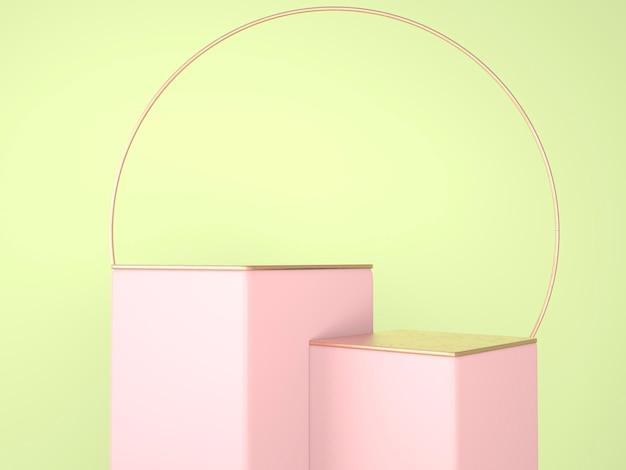 Fondo abstracto 3d, podio de forma de geometría de escena simulada para exhibición de productos, ilustración 3d.