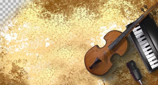 Fondo abstracto de música antigua. representación 3d