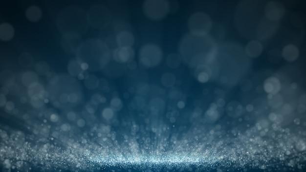 Fondo abstracto de partículas de polvo azul oscuro y resplandor, efecto de haz de brillo de rayos de luz.