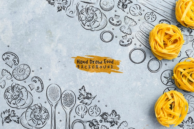 Fondo de alimentos dibujados a mano con pasta