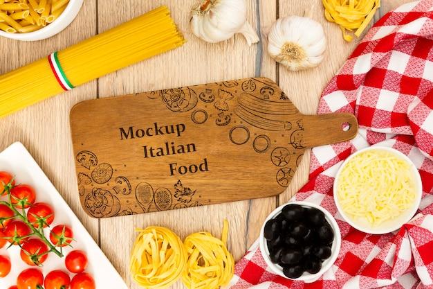Fondo de alimentos con ingredientes sabrosos