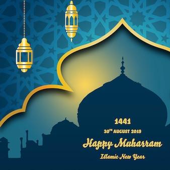 Fondo de año nuevo islámico con mezquita