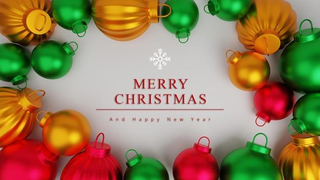 Fondo de concepto de feliz navidad de ilustración 3d con adorno de bola de navidad