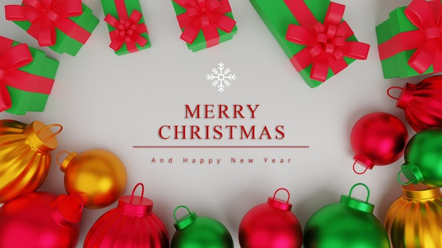 Fondo de concepto de feliz navidad de ilustración 3d con caja de regalo y adorno de navidad