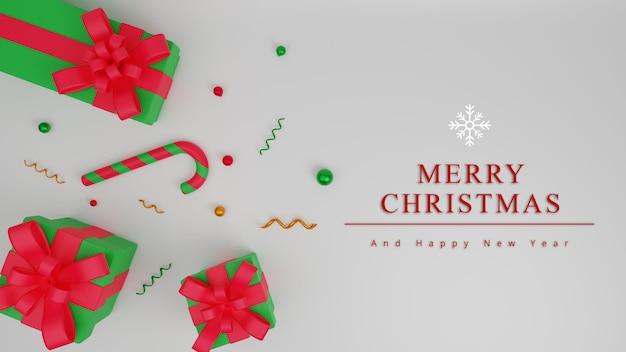 Fondo de concepto de feliz navidad de ilustración 3d con caja de regalo