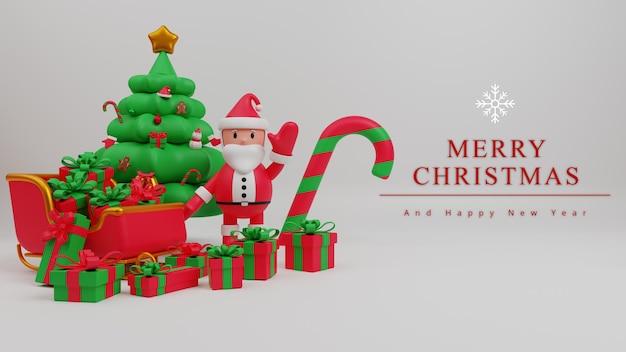 Fondo de concepto de feliz navidad de ilustración 3d con santa claus, árbol de navidad, caja de regalo, bastón de caramelo