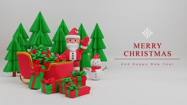 Fondo de concepto de feliz navidad de ilustración 3d con santa claus, caja de regalo, árbol, hombre de nieve, trineo