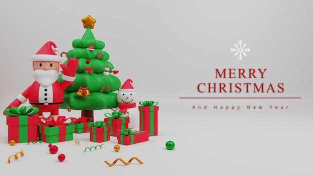 Fondo de concepto de feliz navidad de ilustración 3d con santa claus, caja de regalo, árbol de navidad, hombre de nieve,