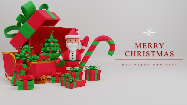 Fondo de concepto de feliz navidad de ilustración 3d con santa claus, caja de regalo, bastón de caramelo, trineo