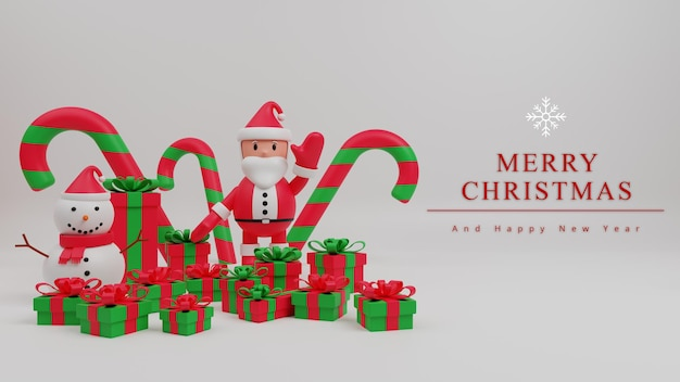Fondo de concepto de feliz navidad de ilustración 3d con santa claus, caja de regalo, bastón de caramelo