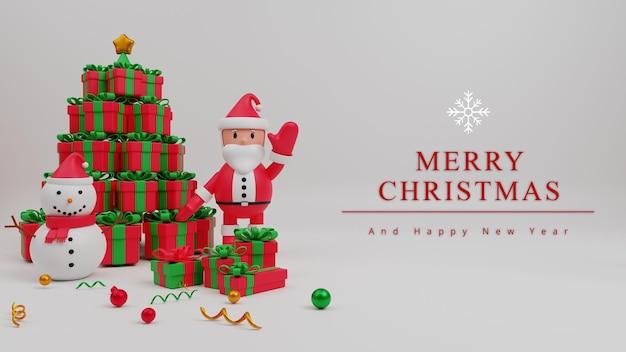 Fondo de concepto de feliz navidad de ilustración 3d con santa claus, caja de regalo, hombre de nieve
