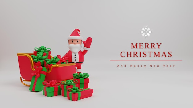 Fondo de concepto de feliz navidad de ilustración 3d con santa claus, caja de regalo, trineo